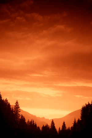 A beautiful colorful sunset in Tatra mountains. Decorative look