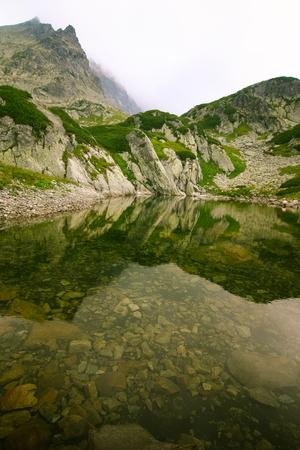 A beautiful mountain lake landscape in Tatry, Slovakia