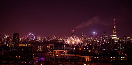 Beautiful fireworks above London. New Years Eve, view from Greenwich Point Hill Banco de Imagens