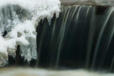 A waterfall in a winter, photographed with a long exposure Stock Photo