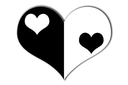 yin yang heart symbol with black and white hearts in the middle  photo