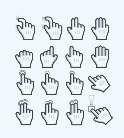multi touch: Touch screen gesture hand icons  Illustration