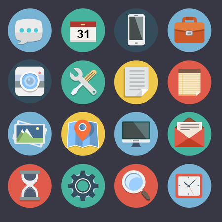 Flat Icons for Web and Applications Set Vector