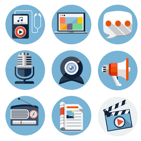 ios: Media Flat Icons for Web and Mobile Applications