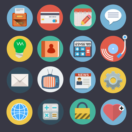 Flat Icons for Web and Applications Set 2 Ilustração