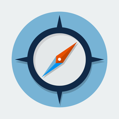 dial compass: Compass flat icon Illustration