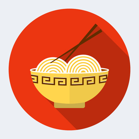Noodles flat icon  Vector