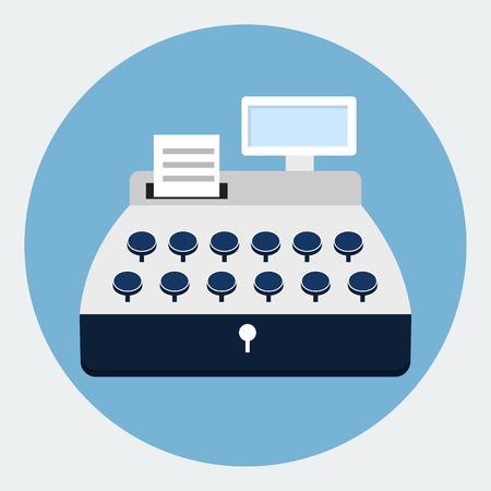 caja registradora: Icono plana Caja registradora Vectores