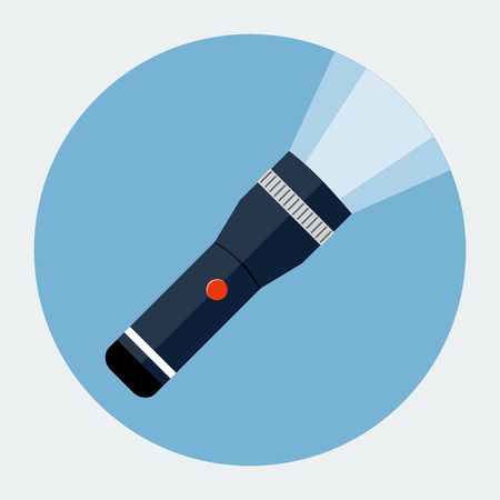 Flashlight flat icon  Illustration