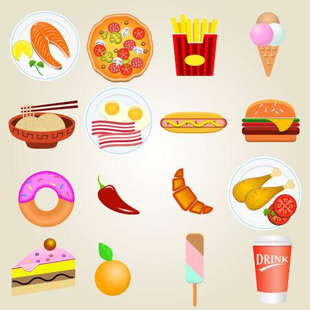 food icons: Fast food icons Illustration