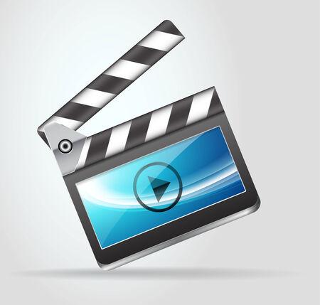 filming: Open movie slate clapperboard