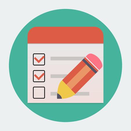 Vector Flat checklist with pen icon Vector
