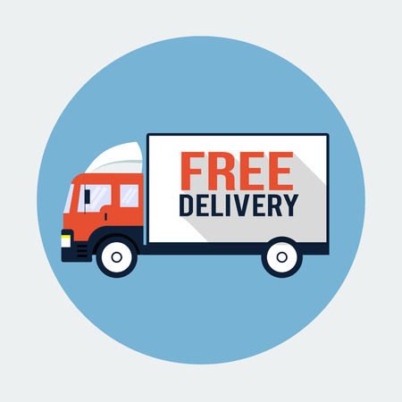 Free Delivery Truck Flat Icon Vector