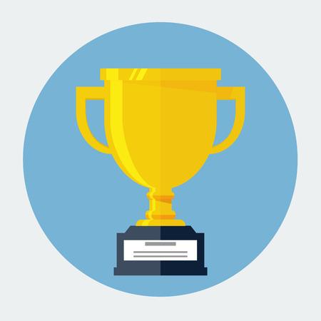 Trophy Cup Flat Icon Çizim