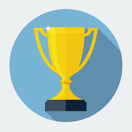 Trophy Cup Wohnung Icon mit lange Schatten Vektorgrafik