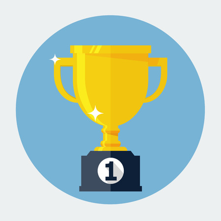 trophy cup: Trophy Cup Flat Icon Illustration
