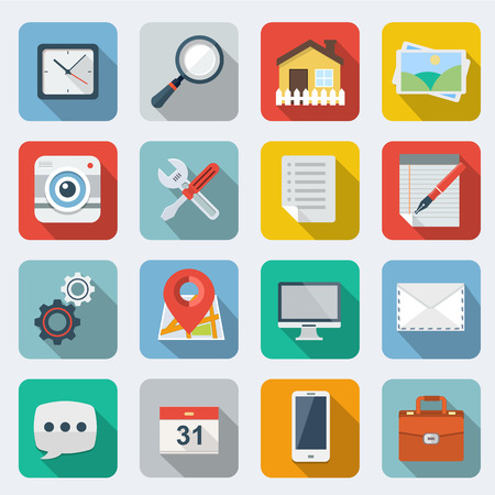 icon home: Flat Icons with long shadow