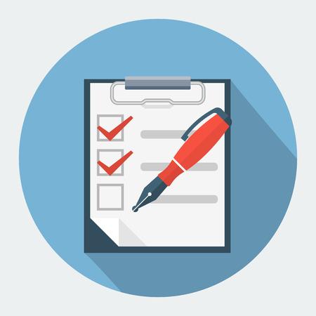 check box: Checklist and nib pen icon