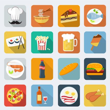 Food flat icons Illustration