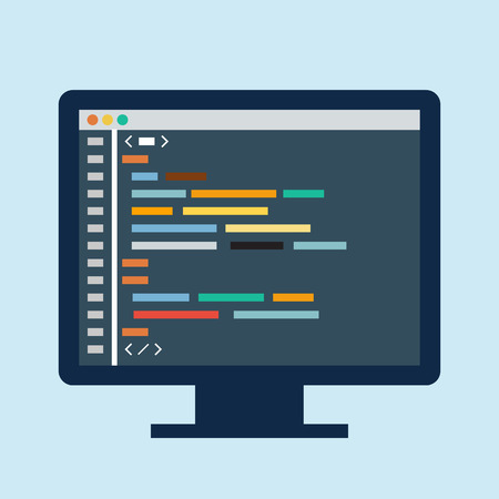 Code editor on a monitor Vector