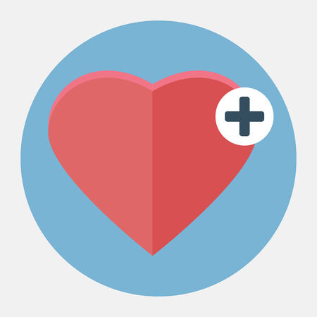 plus icon: Vector heart with plus icon Illustration