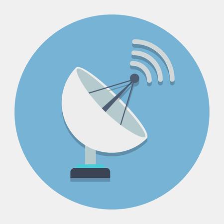 satellite space: Vector satellite dish icon Illustration