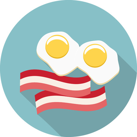 crisp: Vector eggs and bacon icon Illustration