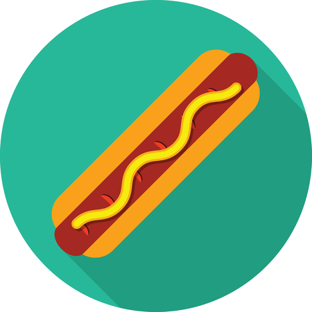 eating lunch: Vector hot dog icon