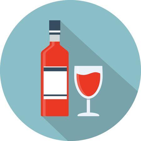 bottle wine: Vector wine bottle and glass icon Illustration