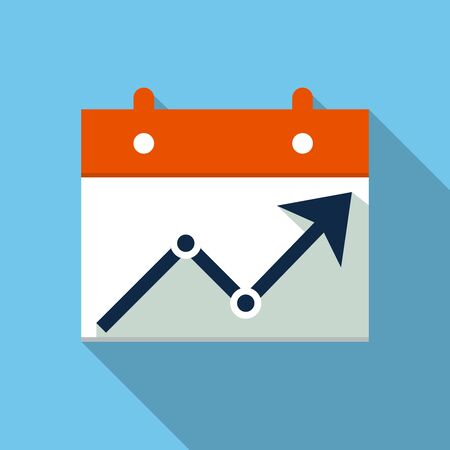 Calendar with chart icon, design element for mobile and web applications, eps 10 Illustration