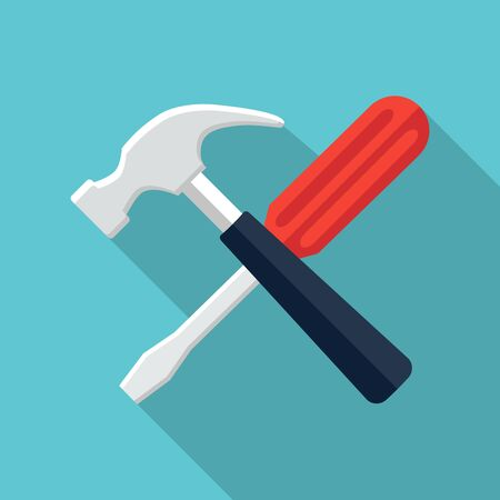 Screwdriver and hammer icon, design element for mobile and web applications, eps 10