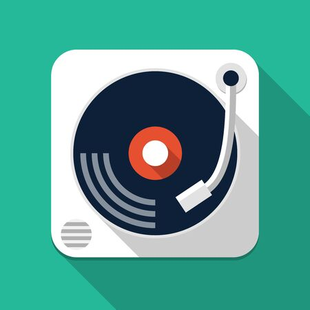gig: Turntable flat icon, design element for mobile and web applications, eps 10