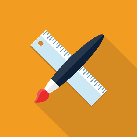 Vector paint brush and ruler icon Illustration