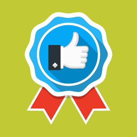 Badge avec l'icône des pouces vers le haut Banque d'images - 80017848