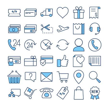 E-commerce thin line color vector icons set Illustration