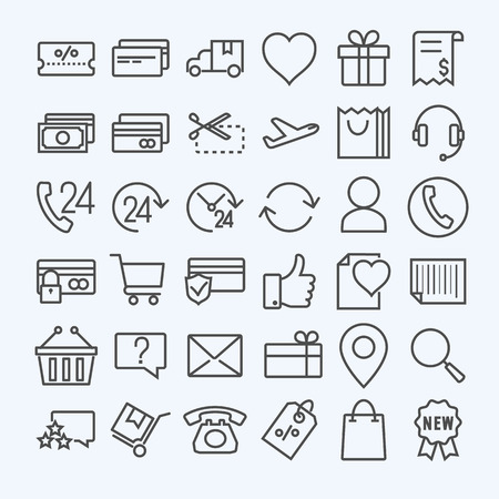 E-commerce line icons set 矢量图像