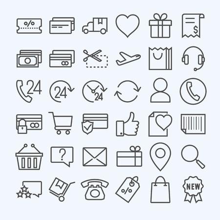 E-commerce line icons set Vectores