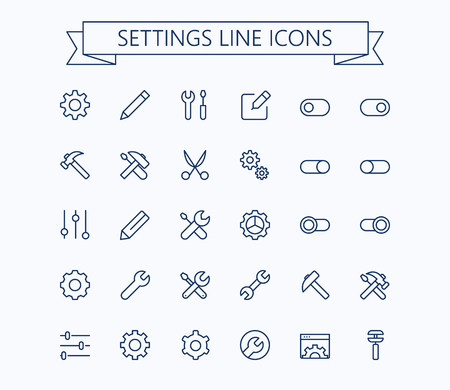 Set of settings icons.