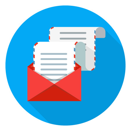 Long email icon vector illustration on white background.