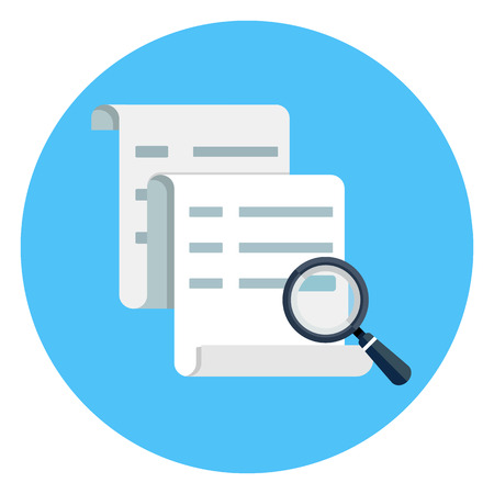 Document and magnifying glass icon