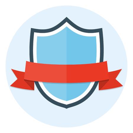 Shield and ribbon flat icon Illustration