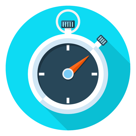 Stopwatch vector flat illustration. Illustration