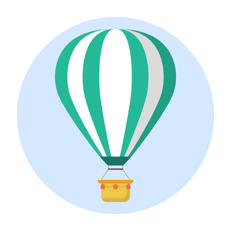Hot air balloon icon illustration on white background.