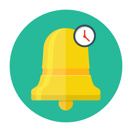 Bell with clock icon. Alarm flat illustration.