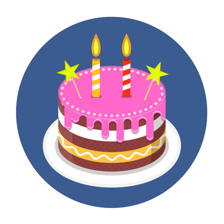 Birthday cake with candles illustration on white background.
