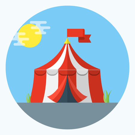 Circus tent vector, flat design icon in blue circle illustration on white background.