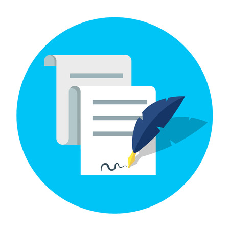 Signing contract quill vector icon.