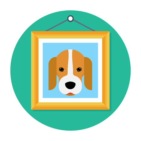 Picture of a beagle dog in wooden frame hanging on the wall icon illustration. Illustration