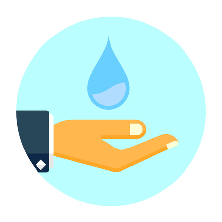 Hand holds water drop vector icon, save water flat sign Illustration