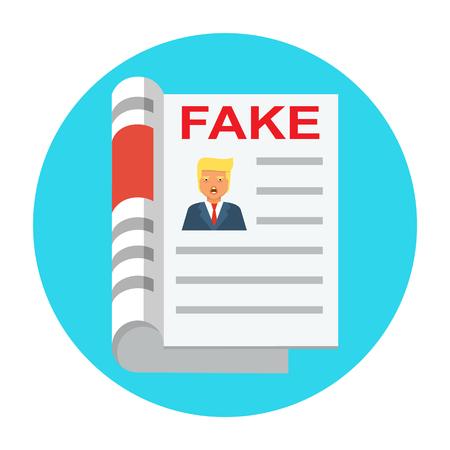 Fake news flat icon vector Illustration